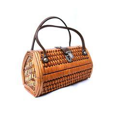 Vintage Handbag, Wickerwork Purse, Natural Retro Bag