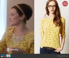 April's yellow cloud print top on Chasing Life.  Outfit Details: http://wornontv.net/45525/ #ChasingLife
