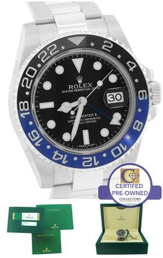 Mint 2015 Rolex GMT-Master II 'Batman' Stainless Ceramic Watch Collectors Brand Rolex (Guaranteed Authentic) Model GMT-Master I