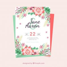 Template of wedding invitation with colored flowers Free Vector
