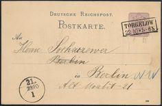 Inlandspostkarte im Fernverkehr vom 22. Oktober 1885 aus Torgelow in der preußischen Provinz Pommern nach Berlin. Die Karte wurde portorichtig in Einzelfrankatur mit 5 Pfennig (Ganzsache Mi.-Nr. P 12/02 Platte A - Ausgabe 1880) frankiert und mit dem zweizeiligen Rechteckstempel TORGELOW / 22 10 * 5 - 6N abgeschlagen. Bei der Ankunft in Berlin am 23. Oktober 1885 erhielt die Karte in der linken unteren Ecke einen Abschlag mit dem Einkreisstempel 21. / 23/10 / 1.
