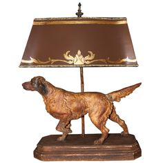 Vintage Dog Lamp with Painted Parchment Shade