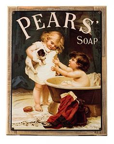 Pears Soap Metal Sign Framed on Rustic Wood Victorian Child with Puppy Bath -- Want to know more, click on the image.