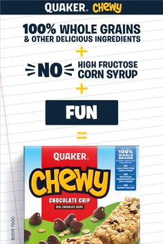 The math checks out – Quaker Chewy is a snack that's destined to be your family's favorite bar. Pick some up today! Baked Salmon Recipes, Chicken Parmesan Recipes, Recipes With Whipping Cream, Cream Recipes, Oats Snacks, Healthy Snacks, Macaroni Cheese Recipes, Chewy Granola Bars, Turkey Burger Recipes
