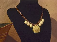 $23.99 Ivory and Copper Flower Garden Necklace