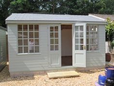 Holkham Summerhouse x finished in Pigeon Farrow & Ball Paint Farrow And Ball Paint, Farrow Ball, Man Shed, Outdoor Rooms, Outdoor Decor, Shed Colours, Garden Inspiration, Garden Ideas, Garden Office
