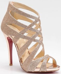Christian Louboutin Balota Glitter Leather Strappy Sandals