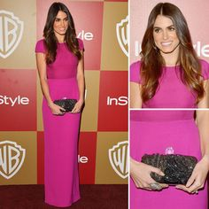 Actress Nikki Reed looked beautiful on the red carpet accessorizing with Swarovski's textured crystal mesh Party Time clutch.