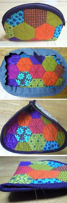 Patchwork Tutorial How to make cosmetic bag patchwork. DIY sewing Tutorial in Pictures.How to make cosmetic bag patchwork. DIY sewing Tutorial in Pictures. Sewing Tutorials, Sewing Crafts, Sewing Projects, Bag Tutorials, Tape Crafts, Patchwork Bags, Quilted Bag, Patchwork Quilting, Purse Patterns