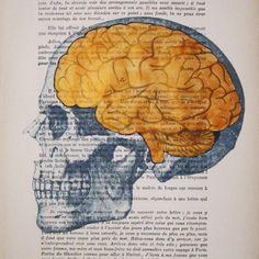 Golden brains- ORIGINAL ARTWORK Hand Painted Mixed Media on 1920 famous Parisien Magazine 'La Petit Illustration'. $10.00, via Etsy.