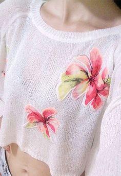 Fresh Retro Floral Print Knit Pullover Sweatshirt from Noveltylike on Storenvy