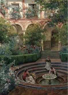 A Villa Garden By Manuel Garcia y Rodriguez (Spanish painter, 1863-1925).