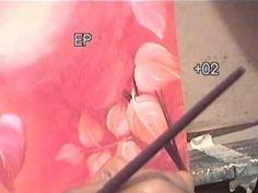 Pintura em tela para iniciantes - como pintar rosas napoles rosado - Com...