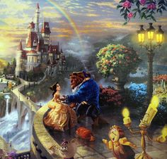 Disney Art & Collectibles - Thomas Kinkade Studios portfolio of Disney artwork captures the beauty of Disney fans' favorite movies and theme parks. Each Thomas Kinkade Studios Disney movie Disney Pixar, Disney E Dreamworks, Disney Magic, Disney Art, Disney Movies, Walt Disney, Disney Belle, Fantasy Angel, Fantasy Romance