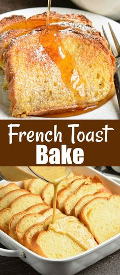 French Toast Bake recipe is made overnight with Brioche bread and sweet cinnamon egg mixture. Easy to put it together the night before and pop it in the oven in the morning. Oven Baked French Toast, Cinnamon French Toast Bake, French Bread French Toast, Overnight French Toast, Breakfast Recipes, Breakfast Muffins, Mini Muffins, Breakfast Casserole, Baking Recipes