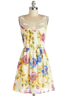 Window Box Shopping Dress, #ModCloth--The first sunny days of the season have you yearning to slip into this floral dress and head to the nursery! A silver pendant dangles atop the embroidered mesh neckline of your fully lined frock as you stride up to the register in your yellow flats and purchase a few artful arrangements!