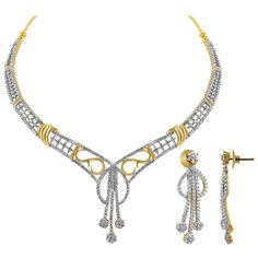 22k Gold plated Cubic Zirconia with accents Earrings Necklace Set. Length of the Earrings is 1.25 inch Long and Dimension is 13mm x 36mm. Length of the Necklace