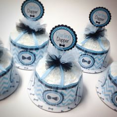 """Five """"Darling Dapper"""" Mini Diaper Cakes. Bow Tie Theme. Baby Shower Centerpieces. on Etsy, $95.00"""