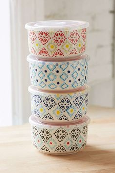 Ceramic Food Storage Bowl Set - Urban Outfitters; i would never forget a tupperware container at work again! and i love that they're ceramic, which means microwave + dishwasher safe! with no risk of leeching plastic