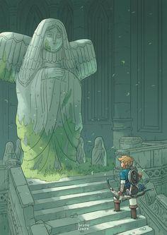 The Goddess Statue 💚 Link The Legend Of Zelda, Legend Of Zelda Breath, Link Zelda, Matte Painting, Fan Art, Twilight Princess, Breath Of The Wild, Video Game Art, Wind Waker