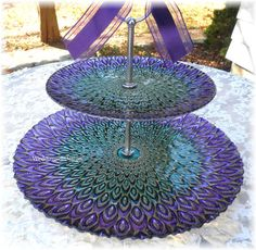Wedding Cake Plate GLASS Cake Stand PEACOCK by WeddingsofDesign, $59.95