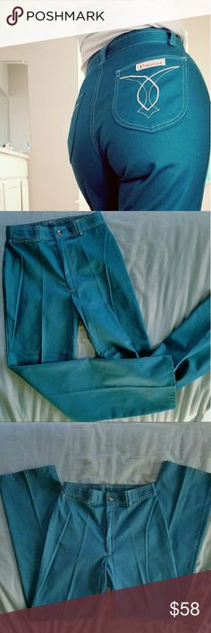 Vtg 70's Jeans 1970's Teal High Waist Jeans  Pizzazz brand  No size on tag  Slim straight fit  Measurements laying flat: 14 inches across waistband  (28 inches around) 32 inch inseam    In excellent vintage condition!     Tags Grunge goth pastel vintage retro hipster hippie 1970 flare wide leg festival Vintage Jeans Flare & Wide Leg