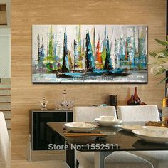 Canvas Painting boat sailing yacht art painting modern abstract wall art pictures for living room home decor caudros decoracion3