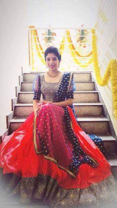 Order contact my WhatsApp number 7874133176 Half Saree Lehenga, Lehnga Dress, Red Lehenga, Anarkali, Sarees, Half Saree Designs, Lehenga Designs, Blouse Designs, Lehenga Wedding