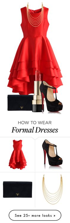 """""""Formal"""" by gracerose03 on Polyvore featuring Chicwish, Prada, Dolce&Gabbana, Christian Louboutin, White House Black Market and red"""