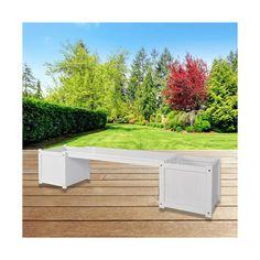 Hardwood Bench Seat w/ Side Planter Slots - White   Buy Gardening Accessories Online - dealsdirect.com.au