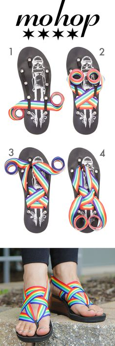 Taste the rainbow with Mohop interchangeable ribbon sandals!