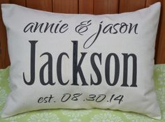 Personalized pillow wedding pillow couples pillow by FeatherHen, $30.00