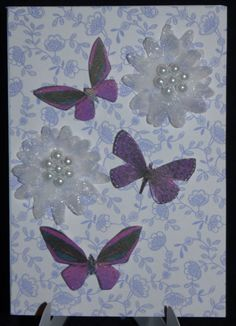 Mini Card 3D Flowers and Raised Butterflies  75p