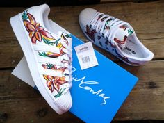 Hand Painted Floral Adidas Superstars