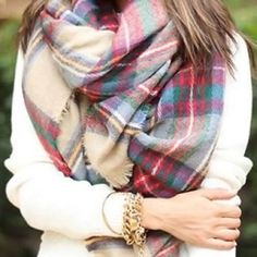 """Tartan Blanket Scarf Multicolor: shades of tan, red, green, brown and blue. // trendy blanket scarf. Perfect for fall/winter. Measurements : 55"""" length, 57"""" width. Brand new without tag. Wool/acrylic/nylon. Comment below if you're interest and I'll make a separate listing. Accessories Scarves & Wraps"""