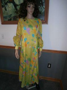 Women's 70's Handmade~ Psychedelic Mod Green ~ Yellow Blue,Purple,Aqua,Orange ,and White Maxi Dress