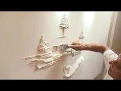 The creation of a bas-relief vine Paris Wall Art, 3d Wall Art, Tree Wall Art, Wall Murals, Plaster Crafts, Plaster Art, Plaster Walls, Sculpture Painting, Wall Sculptures