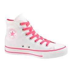 White Canvas High Top Chuck Taylor All Star Trainers by Converse. Come with Converse Logo to side and tongue. Cool Converse, Converse Sneakers, High Top Sneakers, Converse High, Pink Converse, Galaxy Converse, Converse Shoes For Girls, Custom Converse, Pink Sneakers