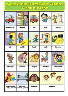 Trata-se de um dicionário ilustrado de verbos da 3ª conjugação para alunos de Português Língua não materna. - Apostilas