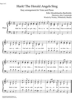 hark the herald angels sing piano sheet music