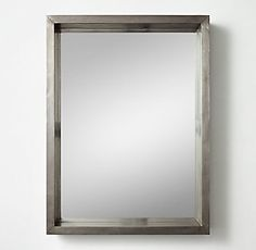 Industrial Shadow Box Dresser Mirror - Pewter