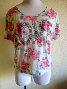 "Womens ""Love"" Floral Shirt Medium #Wetseal #GraphicTee"