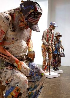 Incredible recycled paper sculptures by Will Kurtz. from Recycled art Foundation Paper Mache Sculpture, Art Sculpture, Paper Sculptures, Driftwood Sculpture, Cardboard Art, 3d Studio, Wow Art, Paperclay, Recycled Art