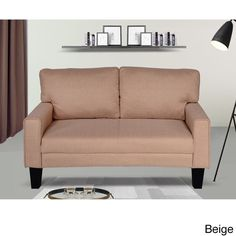 US Pride Furniture Fabric Modern Style Arm Loveseat (Beige Solid color Fabric Loveseat)