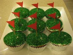 Golf cupcakes for dad's birthday.