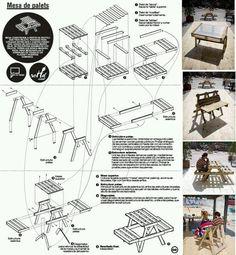 M s de 1000 ideas sobre planos para mesa de picnic en for Muebles con palets planos