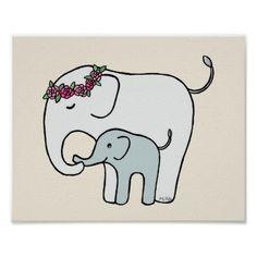 #Elephant Nursery Art Print Cute Mom Baby Elephant - #giftideas for #kids #babies #children #gifts #giftidea