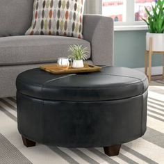"""Three Posts™ Manford 32"""" Wide Genuine Leather Round Storage Ottoman & Reviews   Wayfair Square Storage Ottoman, Tufted Storage Ottoman, Leather Ottoman With Storage, Leather Pillow, Leather Sofa, Reclining Sectional, Large Sectional, Corner Sectional, Round Ottoman"""