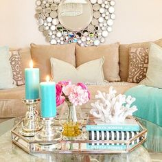 This is Beachy glam, but look how the squishy pillows make it look inviting and comfortable still
