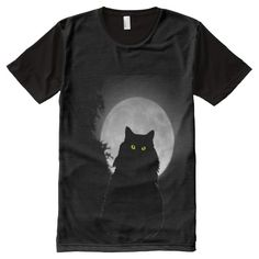 Sitting Black Cat and Full Moon All-Over Print T-shirt